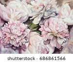 watercolor peonies illustration | Shutterstock . vector #686861566