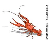 vector image of  crayfish.... | Shutterstock .eps vector #686861815
