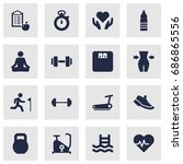 set of 16 fitness icons set... | Shutterstock .eps vector #686865556