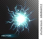 lightning flash light thunder... | Shutterstock .eps vector #686866012