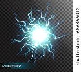 lightning flash light thunder... | Shutterstock .eps vector #686866012