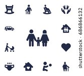 set of 13 people icons set... | Shutterstock .eps vector #686866132