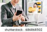 businessman ceo order product... | Shutterstock . vector #686868502