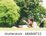 young asian lovely couple or... | Shutterstock . vector #686868712