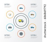 car colorful outline icons set. ... | Shutterstock .eps vector #686869792