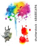 colorful abstract watercolor...   Shutterstock .eps vector #686881696