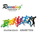 visual drawing running step... | Shutterstock .eps vector #686887306