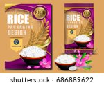 golden and purple rice package... | Shutterstock .eps vector #686889622