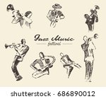 set of illustrations of a jazz... | Shutterstock .eps vector #686890012