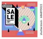 summer sale memphis style web... | Shutterstock .eps vector #686895022