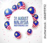 31 august. malaysia... | Shutterstock .eps vector #686895952