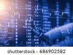 index graph of stock market...   Shutterstock . vector #686902582
