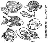 silhouettes of fishes | Shutterstock .eps vector #68690419