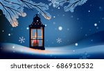 christmas lantern with snowfall ... | Shutterstock .eps vector #686910532