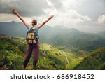 traveler with backpack standing ... | Shutterstock . vector #686918452