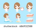 woman with skin care on the... | Shutterstock .eps vector #686932588