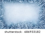 frost crystal border on ice  ... | Shutterstock . vector #686933182