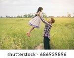 asian father and little cute... | Shutterstock . vector #686939896