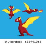 cute red dragon cartoon vector... | Shutterstock .eps vector #686941066