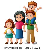 happy family cartoon | Shutterstock . vector #686946136