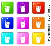 bucket and rag icons of 9 color ... | Shutterstock .eps vector #686948572