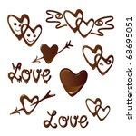 chocolate heart and love symbols | Shutterstock .eps vector #68695051
