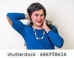 man dressed as woman isolated... | Shutterstock . vector #686958616