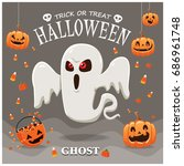 vintage halloween poster design ... | Shutterstock .eps vector #686961748