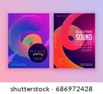 electro sound club music flyer... | Shutterstock .eps vector #686972428