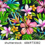botanical tropical pattern with ... | Shutterstock . vector #686973382