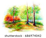 woods painting  color pencil... | Shutterstock . vector #686974042
