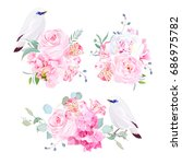 gentle mix of pink bouquets and ... | Shutterstock .eps vector #686975782