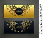 black and golden mandala... | Shutterstock .eps vector #686976796