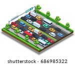 isometric highway with traffic... | Shutterstock .eps vector #686985322