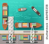 sea dock or cargo seaport with... | Shutterstock .eps vector #686985358