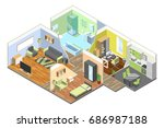 3d interior of modern house... | Shutterstock .eps vector #686987188
