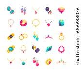 luxury jewelry flat vector... | Shutterstock .eps vector #686988076