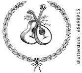 laurel wreath with guitar and... | Shutterstock .eps vector #68698915