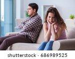 young family in broken... | Shutterstock . vector #686989525