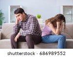 young family in broken... | Shutterstock . vector #686989552