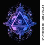 all seeing eye pyramid poster... | Shutterstock .eps vector #686990155