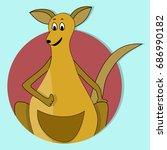 cartoon happy kangaroo icon...