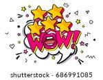wow word bubble. message in pop ... | Shutterstock .eps vector #686991085