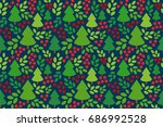 endless christmas pattern.... | Shutterstock .eps vector #686992528