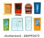 closed doors of different types.... | Shutterstock .eps vector #686992672