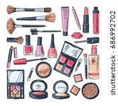 makeup products for women.... | Shutterstock .eps vector #686992702