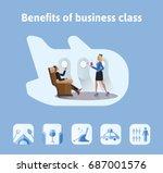 benefits of flights in business ... | Shutterstock .eps vector #687001576