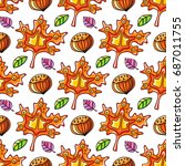 autumn seamless pattern with... | Shutterstock .eps vector #687011755