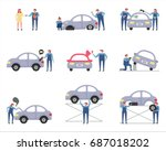car repair shop works vector... | Shutterstock .eps vector #687018202