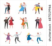 dancing couple character vector ... | Shutterstock .eps vector #687019966